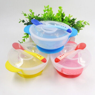 Set Baby Kids Children Suction Cup Bowl Slip-resistant Tableware + Spoon Sucker