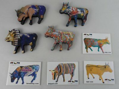 RARE COW PARADE MAGNET LOT of 8 BROADWAY TAXI NY MAP WRESTLER TUT STRIPED ++++