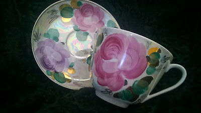 Extra Large  Russian Dulevo Porcelain Breakfast Cup Hand Painted Roses GIFT