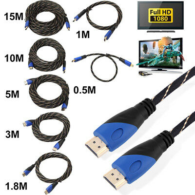 Top Braided HDMI Cable High Speed 1080P 1M - 15M HDTV PS3 3D V1.4 Connection lot