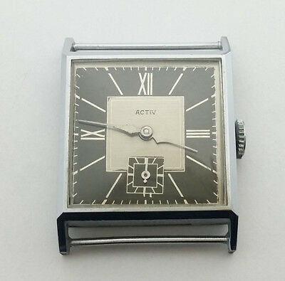 New old stock Art Deco WATCH 1930s Activ swiss RARE watch square wristwatch