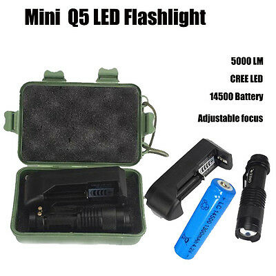 5000LM Q5 LED Mini Flashlight Torch Lamp Light AA/14500 Battery & Charger & Box