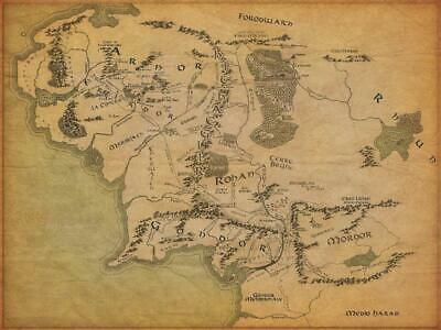Poster The Hobbit Lord Of The Rings Map Lord Of The Rings Land Of Half #1