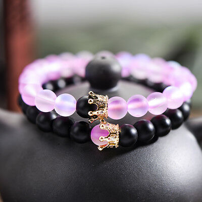 2pcs Couple Distance Bracelet CZ Crown Her King His Queen Natural Stone Bracelet