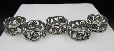 M15 ⭐⭐ Small Filigree Roses Napkin Ring 5 Pcs Silver 835 Ø 17 mm ⭐⭐