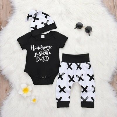3pcs Newborn Toddler Infant Baby Boy Girl Clothes T-shirt Tops+Pants Outfits Set