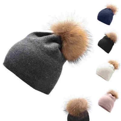 2a004597 Warm Women Winter Cashmere Wool Knitted Large Real Fur Pom Pom Beanie  Croche Hat