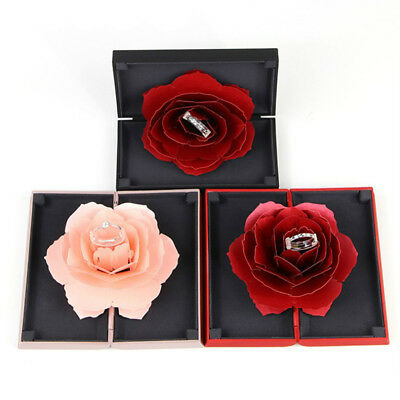 Unique Pop Up Rose Wedding Engagement Ring Box Surprise Jewelry Storage Case Oma