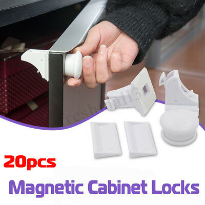 8 Locks 2 Keys Magnetic Cabinet Drawer Cupboard Lock For Baby Kids Child Safety