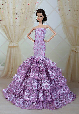 Royalty Mermaid Dress Party Dress/Clothes/Gown For Barbie Doll S08U