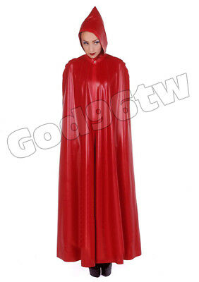 100% Latex Rubber Poncho Cape Robe Catsuit Bodysuit Red Gothic Halloween Party