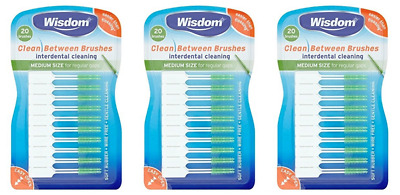 3 x Wisdom Clean Between Interdental GREEN-MEDIUM size for Regular Gaps (20 x 3)