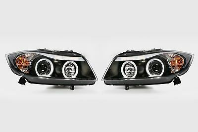 BMW 3 Series E90 05-08 Black Angel Eye Headlights Set Pair White LED Halo Rings