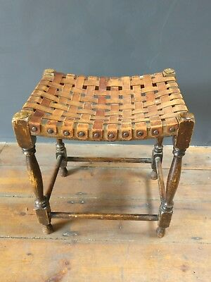 Early 20th century Leather cross strapped Stool