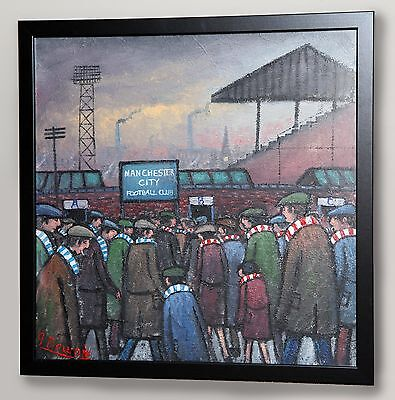 James Downie Large Original Oil Painting Art 'going To The Match' Mcfc V Mufc