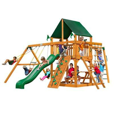 NEW Gorilla Playsets Navigator with Amber Posts and Standard Wood Roof Swing Set