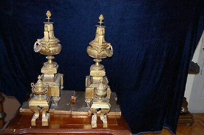 Antique 19Th Century French Xvi Style Gilded Bronze Fireplace Andirons