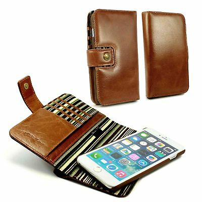 Alston Craig Personalised leather wallet RFID Blocking  cover iPhone 6s + Brown