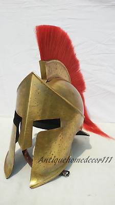 Reenactment Medieval Greek 300 Spartan Helmet Halloween Gift With Red Plume ...