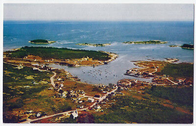 Corea Village and Harbor from the Air.Maine Vintage Postcard