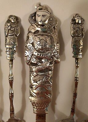 Eight Immortals Antique Silver Chinese Taoism Dessert Cake Server Spatula 8Forks