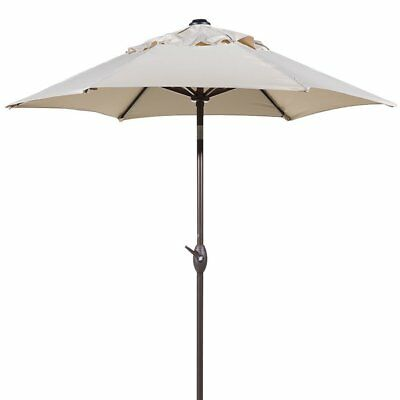 Abba Patio 7-1/2 ft. Round Outdoor Market Patio Umbrella with Push Button, Beige