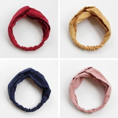 Women Spring Suede Soft Solid Headbands Vintage Cross Knot Elastic Hairbands Ban