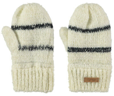 Barts Glove Ducky Mitts Cream Striped Fine Knit Ribbed Cuffs