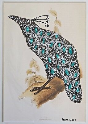 Original art Bird drawing. John McKie. on Book page Photo.