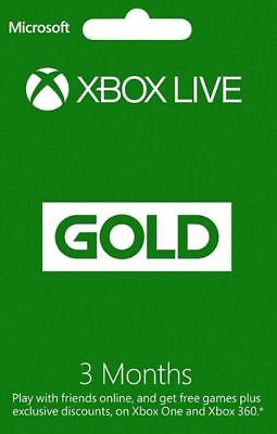 XBOX Live GOLD *3* Months-Microsoft Xbox One/Xbox 360 *RRP £14.99 TRUSTED SELLER