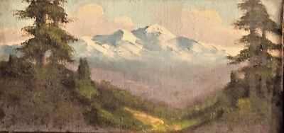 Painting By Richard DeTreville Early CA Art Landscape Mountains Forest Poppies