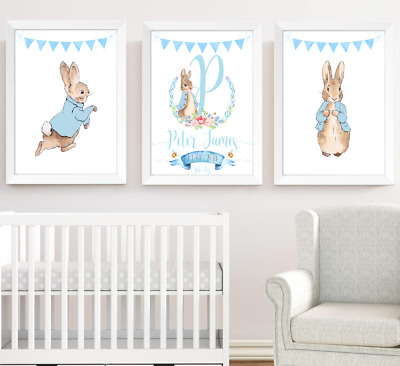Peter Rabbit Nursery Prints Set Of 3 Boys Room Decor Wall