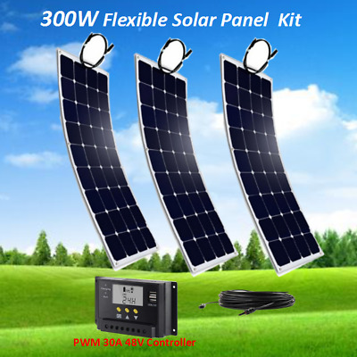 300W 48V Solar Panel Kit System w/ PWM 30A Charge Controller Off Grid RV Boat