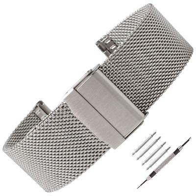 12mm-24mm Milanese Mesh Stainless Steel Double Folding Clasp Buckle Watch Band