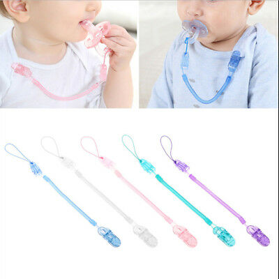Baby Infant Toddler Spring Dummy Pacifier Soother Nipple Clip Chain Holder FJ