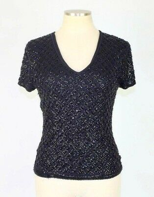 Ann Taylor Black Silk Sequin Beaded Shirt Cocktail Party Evening Top Womens M