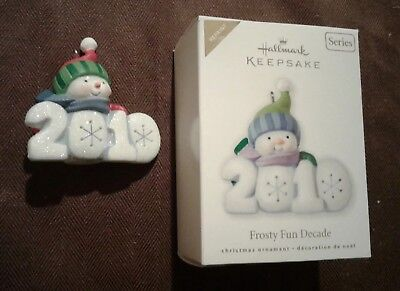 Hallmark Christmas Ornament 2010 FROSTY FUN DECADE  Snowman Repaint Colorway Red