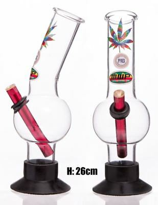 Medium Glass Bent Bonza - Psychedelic 26cm Bong Waterpipe Hookah Water Pipe
