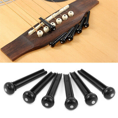 6pcs Guitar Bridge Pins  Acoustic Plastic String End Pegs Black or Ivory US