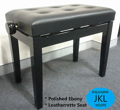 NEW Black Adjustable Piano Stool, Bench M50EP Quality Leatherette Upper