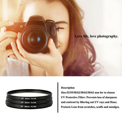 1Pc UV Filter Camera Lens Protector for For Sony Canon Camera 52/55/58/62/67mm