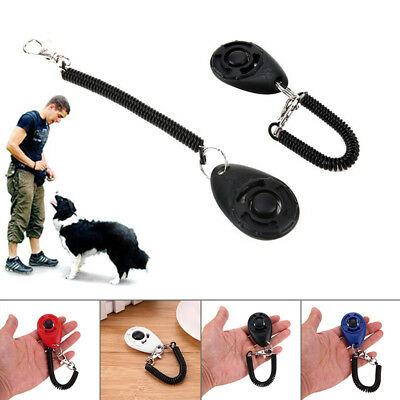 Pet Dog Puppy Cat Click Clicker Training Obedience Trainer Aid With Wrist AKB