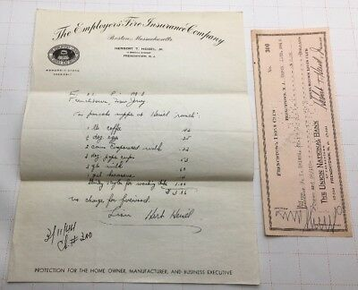 1944 Frenchtown Lions Club The Union National Bank Check With Insurance Invoice