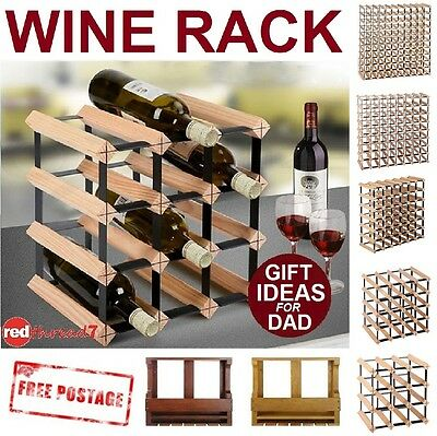 Timber Wine Bottle Rack Wooden Black Steel Storage Cellar Organiser Stand Wood