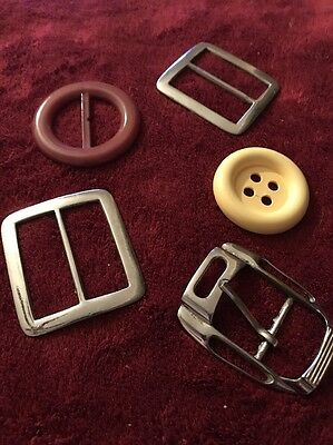 Lot Of Vintage/Old Ladies Belt Buckles And A Button
