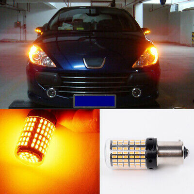 2x 12V 1156 144SMD BAU15S PY21W Canbus Amber Car LED Turn Signal-Lamps