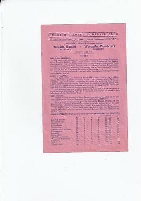 Dulwich Hamlet v Wycombe Wanderers Reserves Football Programme 1948/49
