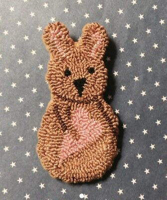 Primitive Needle Punch Pin~Valentine Bunny And Pink Heart