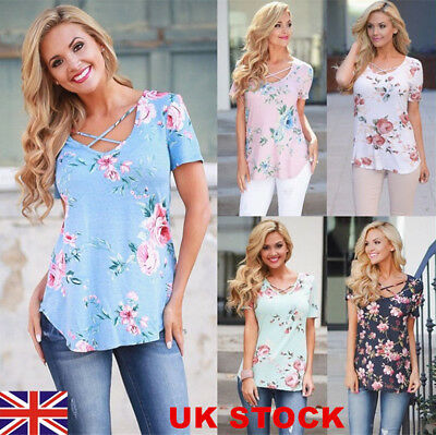 Womens Floral Boho Casual T-Shirt Ladies Summer Loose Tops Blouse Plus Size 6-24