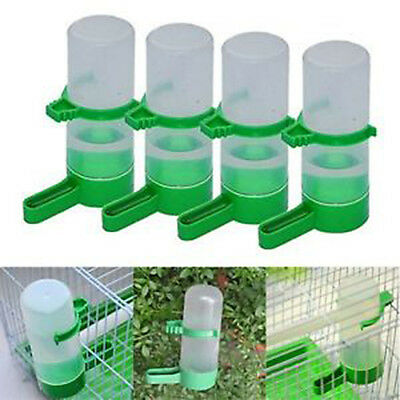 4x Bird Pet Water Drinker Food Feeder w/ Clip for Aviary Lovebirds Budgie Parrot